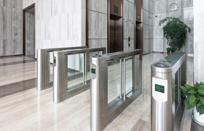 electronic access equipment on entrance gate